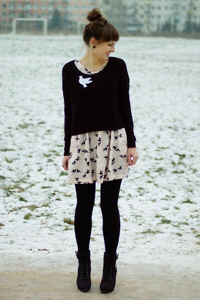 Sukienka - H&M, Sweter - H&M, Buty - Promod, Marynarka - H&M, ptak - DIY