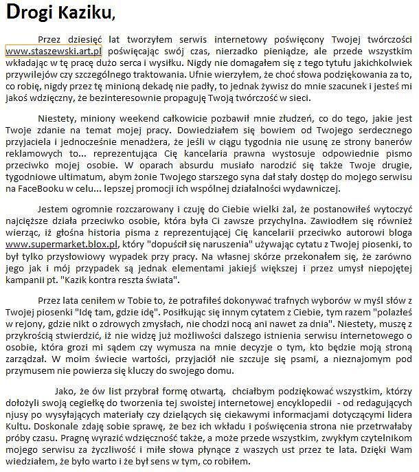 List otwarty LeeQsa do Kazika Staszewskiego na stronie staszewski.art.pl.