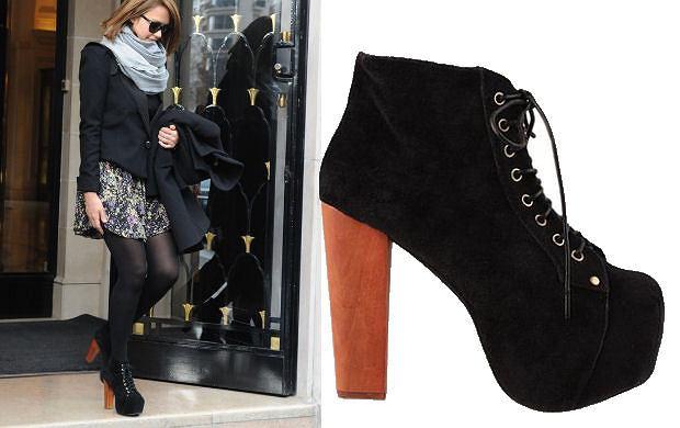 Jessica Alba w butach Lita Jeffrey'a Campbella na zakupach w paryskim butiku Gucci