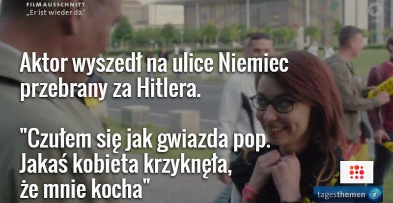 Aktor Oliver Mascucci w przebraniu Hitlera wśród zwykłych Niemców