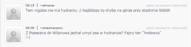 Komentarze internautów pod tekstem na temat biegnącego za autem psa na smyczy