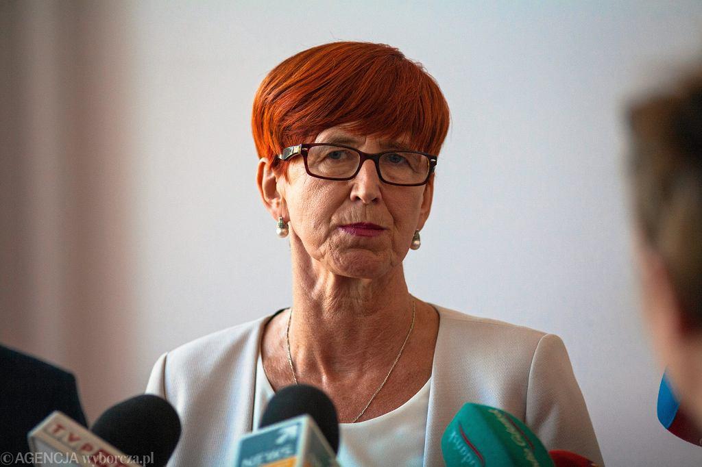 Minister pracy w rządzie PiS Elżbieta Rafalska podczas konferencji prasowej. Gdańsk, 10- września 2018
