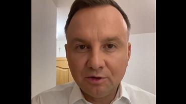 Kadr z nagrania, w którym Andrzej Duda mówi, że ma koronawirusa