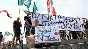 Demonstracja przeciwko przyjmowaniu uchodźców w Polsce. Warszawa, 25 lipca 2015