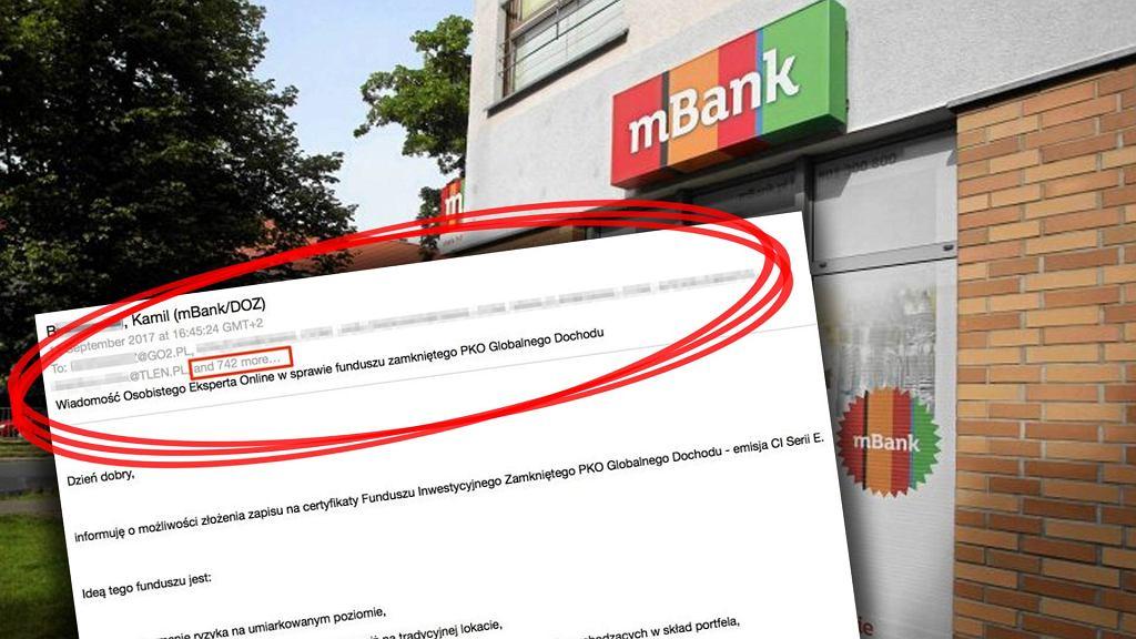 Przypadkowy wyciek adresów e-mail z mBanku