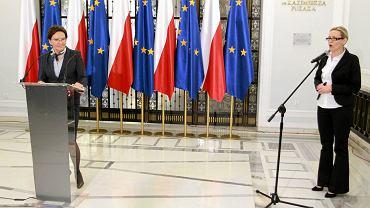 Premier Ewa Kopacz i rzeczniczka jej rządu - Iwona Sulik