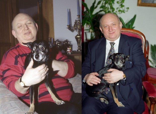 Józef Oleksy z psem