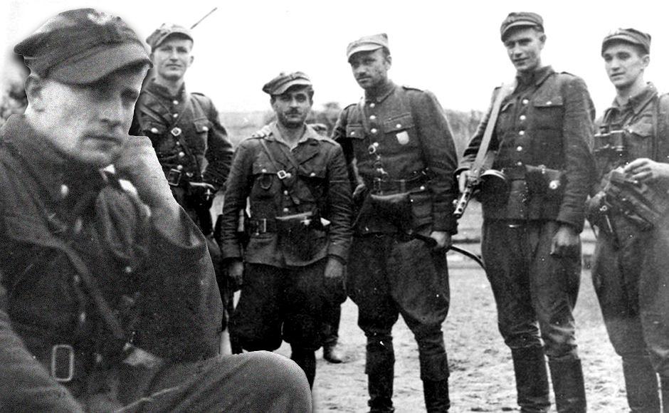 Od lewej: Józef Kuraś, ps. 'Orzeł', ppor. Henryk Wieliczko 'Lufa', por. Marian Pluciński 'Mścisław', mjr Zygmunt Szendzielarz 'Łupaszka', NN, Zdzisław Badocha 'Żelazny'