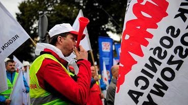 Demonstracja górników pod Sejmem w 2014 roku