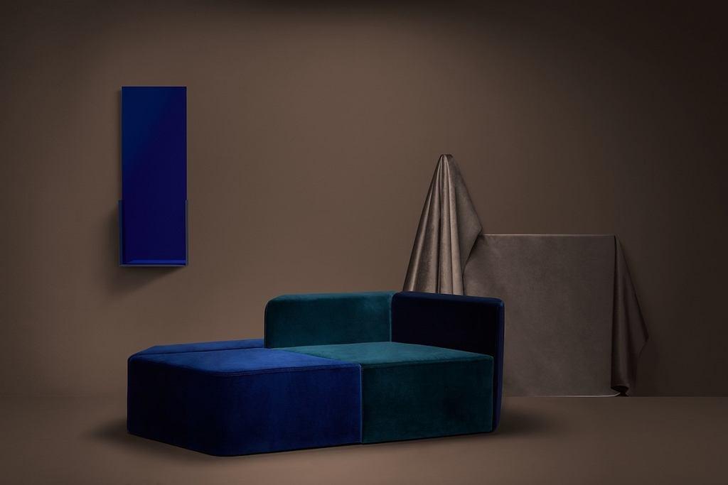Różnokolorowa sofa modułowa Rye.