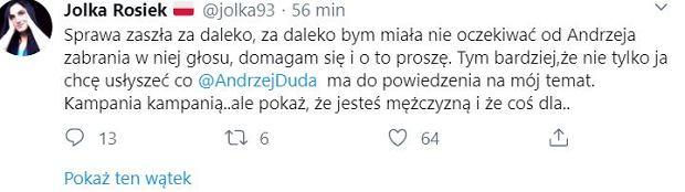 Jolka Rosiek pisze do Andrzeja Dudy