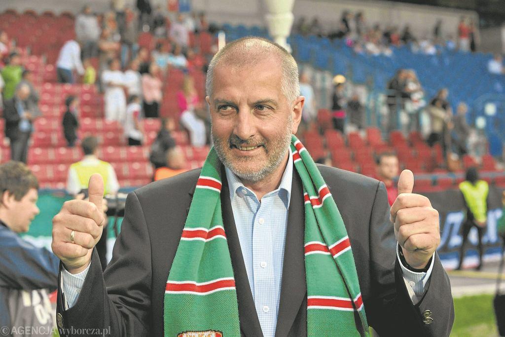 Prezydent Rafał Dutkiewicz podczas meczu Śląska