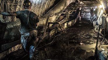Górnicy wydobywają węgiel z najgłebiej położonego pokładu - 1290 m - w kopalni Bydryk  w Ornontowicach, 16 maja 2017