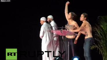 Protest aktywistek Femenu na muzułamańskiej konferencji