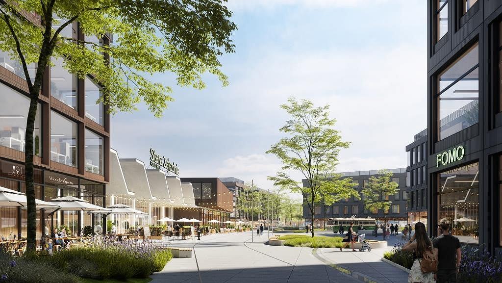 Wizualizacja kompleksu handlowo-usługowo-mieszkaniowego Stara Zajezdnia, którą nieruchomościowe ramię koncernu Auchan zamierza zbudować na terenie d. zajezdni trolejbusowej przy Puławskiej w Piasecznie.