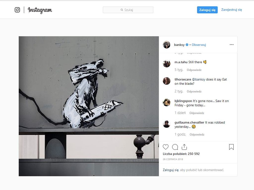 Graffitti Banksy'ego skradzione w Paryżu