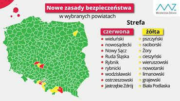 Mapa stref żółtych i czerwonych obowiązująca od 14 sierpnia