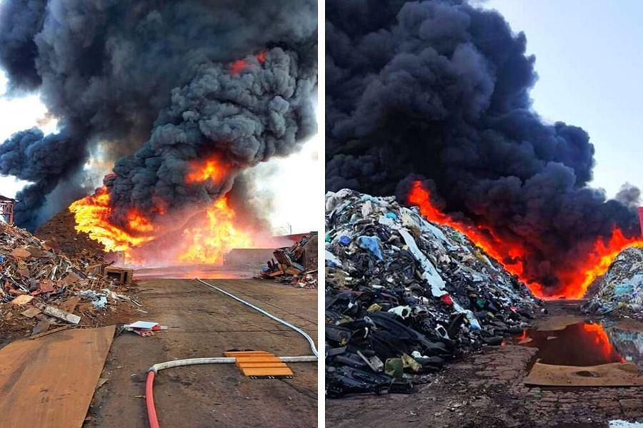 Pożar składowiska odpadów w Przysiece Polskiej