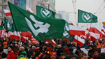 ONR podczas wspólnego Biało-czerwonego marszu pod honorowym patronatem prezydenta RP Andrzeja Dudy. Warszawa, 11 listopada 2018