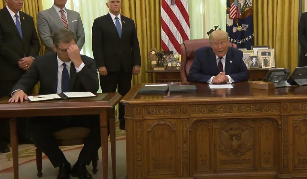 Prezydent Serbii Aleksandar Vuczic i Donald Trump