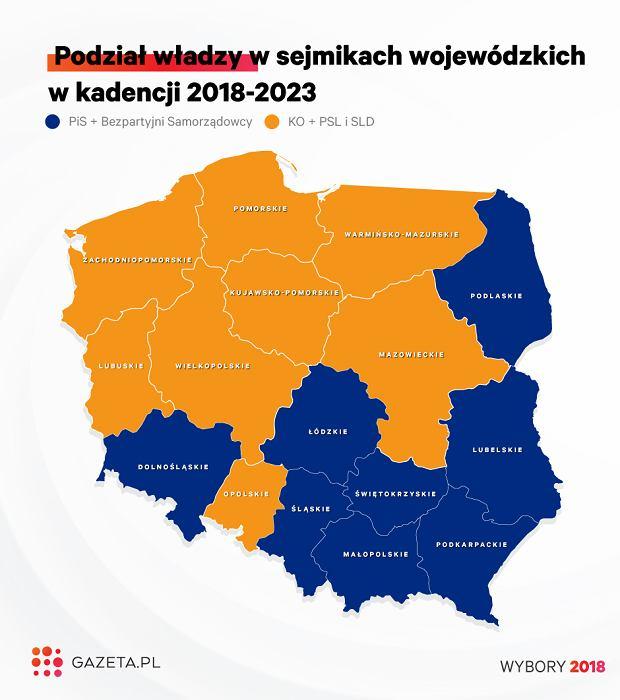 Tak wygląda powyborcza mapa Polski. PiS i opozycja podzieliły się sejmikami wojewódzkimi po połowie