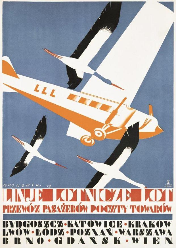 Plakat promocyjny LOT-u; Tadeusz Gronowski, Władysław Główczewski; 1929 r.