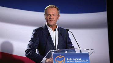 Szef PO Donald Tusk podczas Rady Krajowej Platformy Obywatelskiej. Warszawa, 10 sierpnia 2021