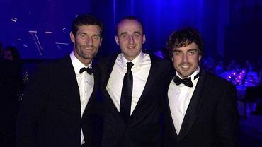 Starzy przyjaciele z toru - Mark Webber, Robert Kubica i Fernando Alonso