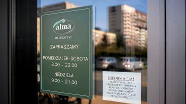 Zamknięte delikatesy Alma w Krakowie