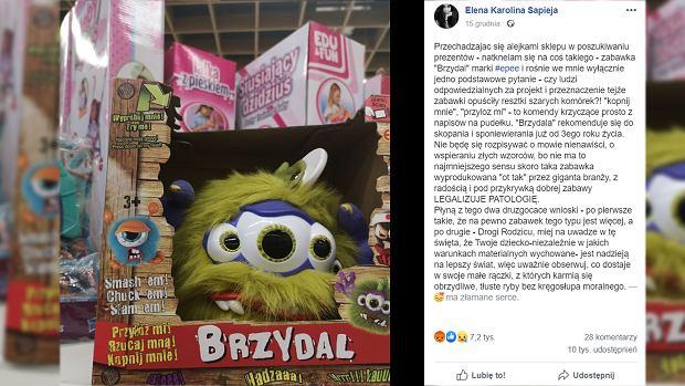 """""""Brzydal do bicia"""". Kontrowersyjna zabawka oburzyła klientów. Mamy komentarz producenta: Zostały pojedyncze sztuki"""