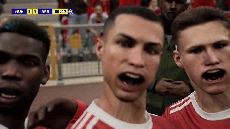 Piłkarze Manchesteru United w grze eFootball 2022.