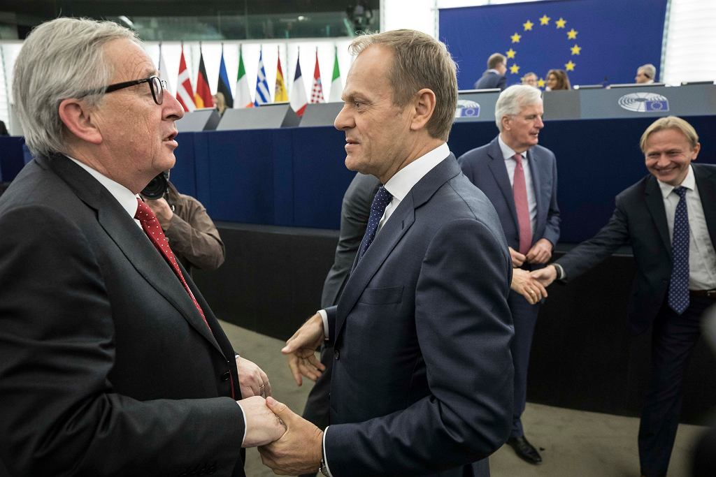 Brexit. Donald Tusk, szef Rady Europejskiej i Jean-Claude Juncker, przewodniczący Komisji Europejskiej