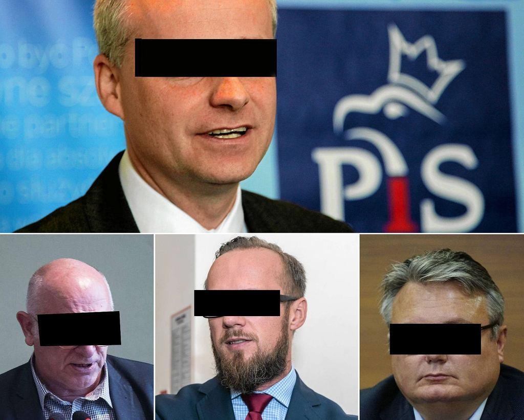 Byli politycy PiS oskarżeni o okradanie PCK: b. poseł Piotr B., radny wrocławski Jerzy S., prawa ręka Anny Zalewskiej Jerzy G. oraz b. radny sejmiku Rafał H.