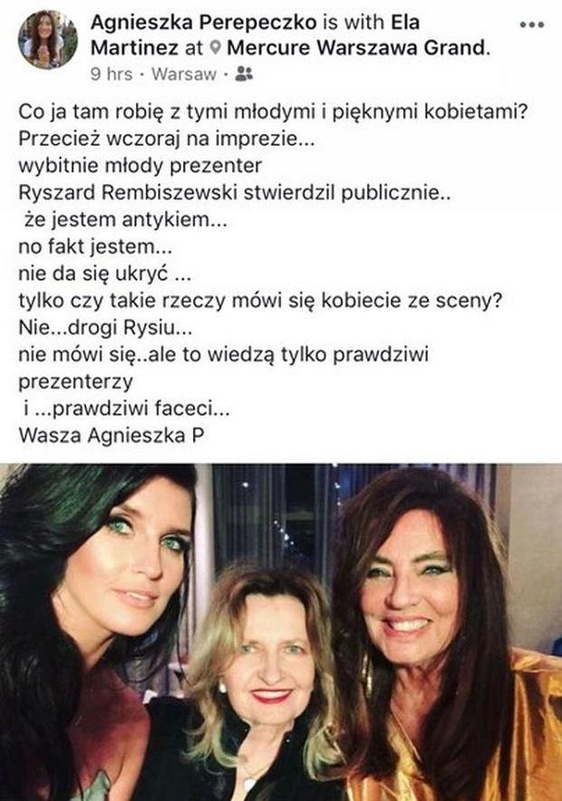 Wpis na profilu Agnieszki Perepeczko