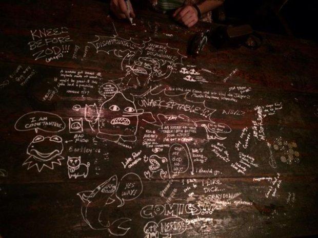 Ściana z podpisami gości w Crazy Elephant