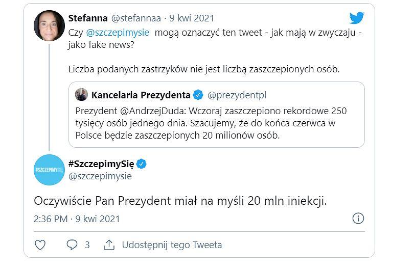 Screen z wpisu profilu SzczepimySię