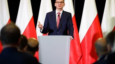 Mateusz Morawiecki podczas konferencji z okazji 35. rocznicy powstania Solidarności Walczącej Oddziału Poznań