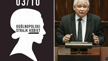 Plakat czarnego protestu/ Jarosław Kaczyński