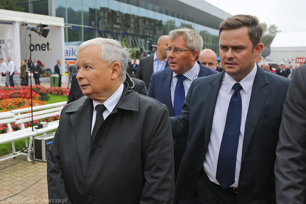 Jarosław Kaczyński i Adam Hofman na Forum Ekonomicznym w Krynicy