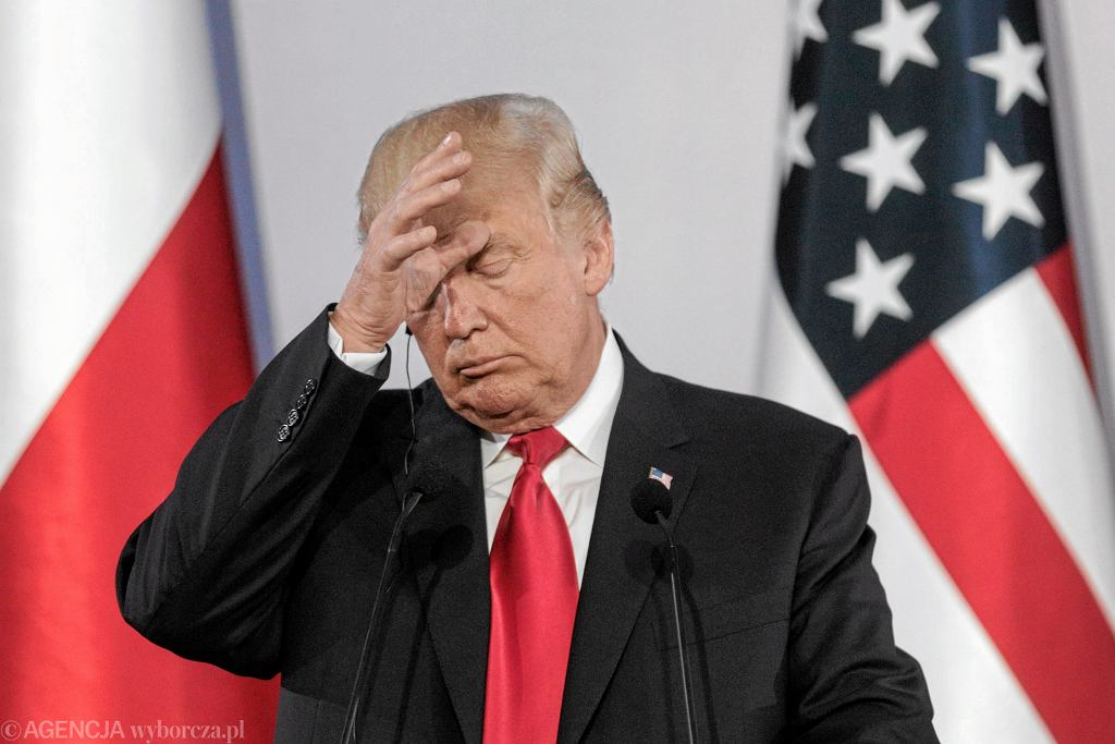 Prezydent USA Donald Trump podczas wspólnej (z prezydentem Andrzejem Dudą) konferencji prasowej na Zamku Królewskim. Warszawa, 6 lipca 2017