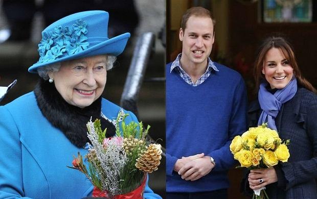 Królwa Elżbieta II, książę William, księżna Kate