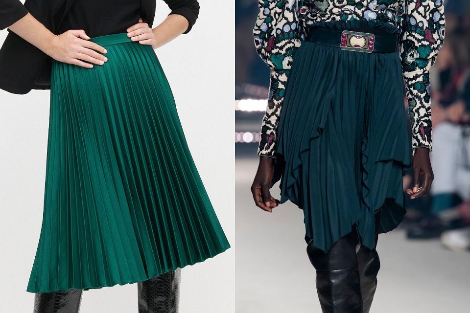 Plisowana spódnica w kolorze butelkowej zieleni to hit na jesień 2020!