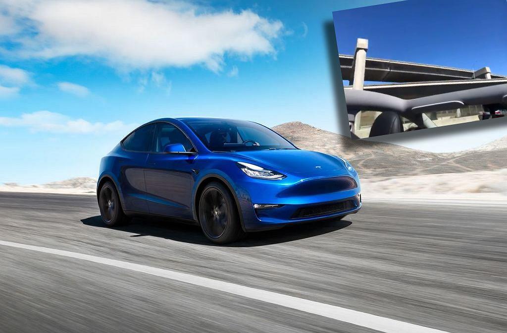 Tesla Model Y straciła dach