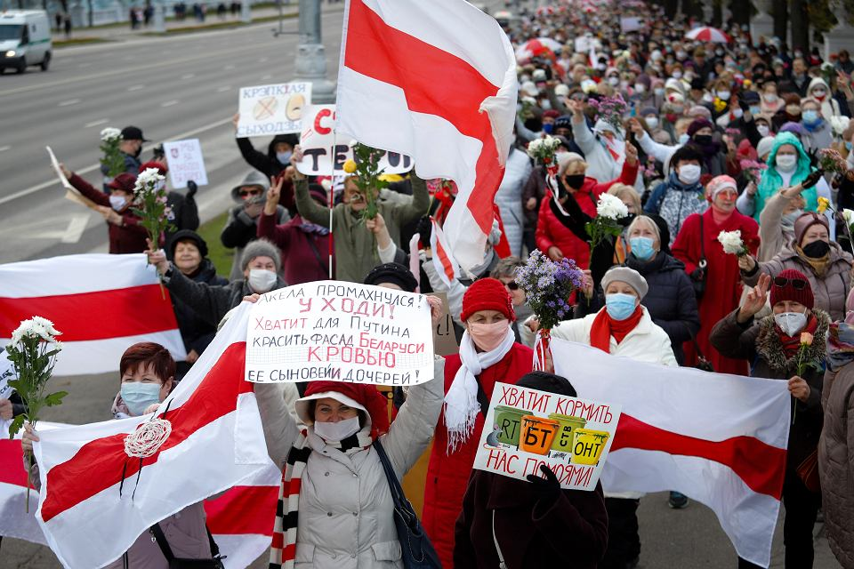 19.10.2020, kolejny dzień manifestacji w Mińsku