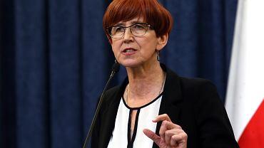 Elżbieta Rafalska podczas konferencji podsumowującej program 500 plus. 08.02.2017, Warszawa.