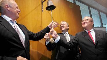 Giełdowy debiut Petrolinvestu w lipcu 2007 roku. Od lewej: Ryszard Krauze, prezes Prokomu, Paweł Gricuk, szef Petrolinvestu i Wiesław Walendziak, wiceprezes Prokomu