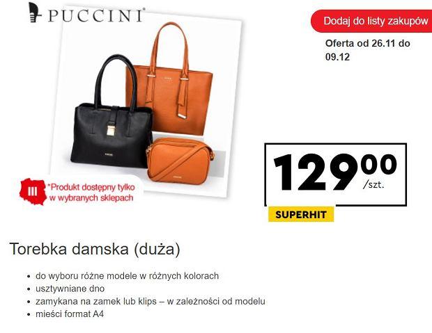 Biedronka sprzedaje modne torebki marki Puccini. To hit na ten sezon. Znamy ich cenę. Podobne kupicie w sieciówkach za dużo więcej