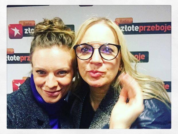 Magdalena Boczarska i Marzena Rogalska w studiu Radia Złote Przeboje