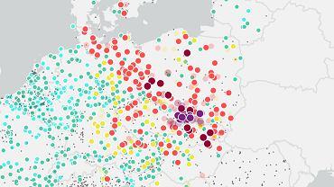 Smog powrócił. Polska na czerwono na mapach zanieczyszczeń