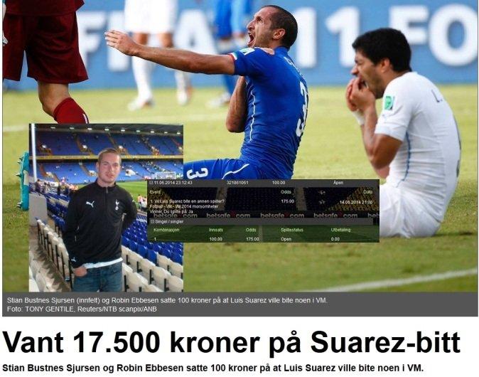 Szczęściarz, który wygrał pieniądze dzięki ugryzieniu Suareza